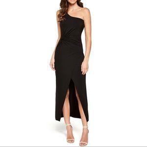 NEW Bardot Black One Shoulder High Slit Midi Dress